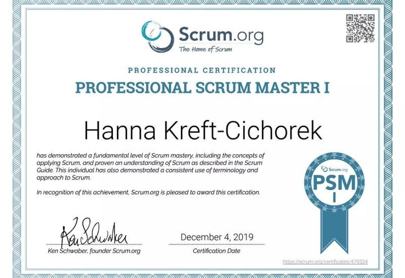 Certyfikat Professional Scrum Master I Hanna Kreft-Cichorek